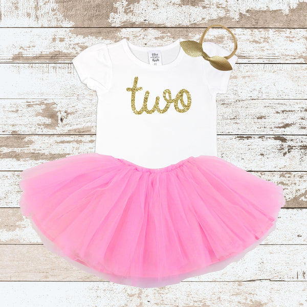 Gold Two Pink Tutu Outfit
