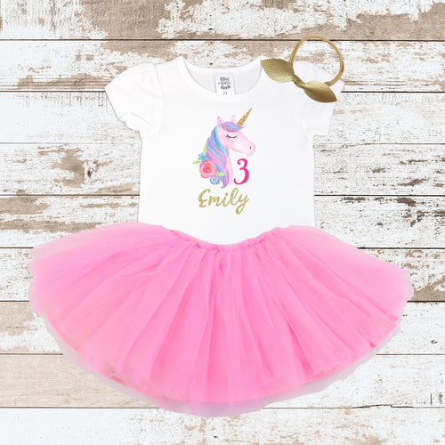 Custom Watercolor Unicorn 3 Pink Tutu Outfit