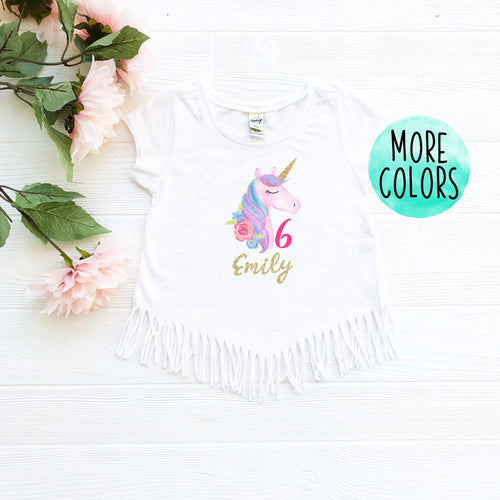 Custom Unicorn 6 Fringe Shirt