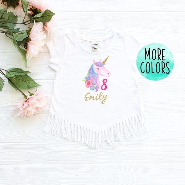 Custom Unicorn 8 Fringe Shirt