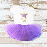 Gold Two Unicorn Face Purple Tutu Outfit