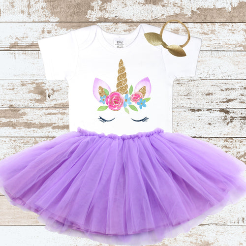 Unicorn Face Purple Tutu Outfit