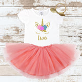 Gold Two Unicorn Face Peach Tutu Outfit