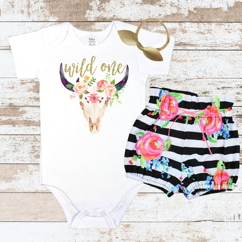 Gold Wild One Striped Bloomer Outfit