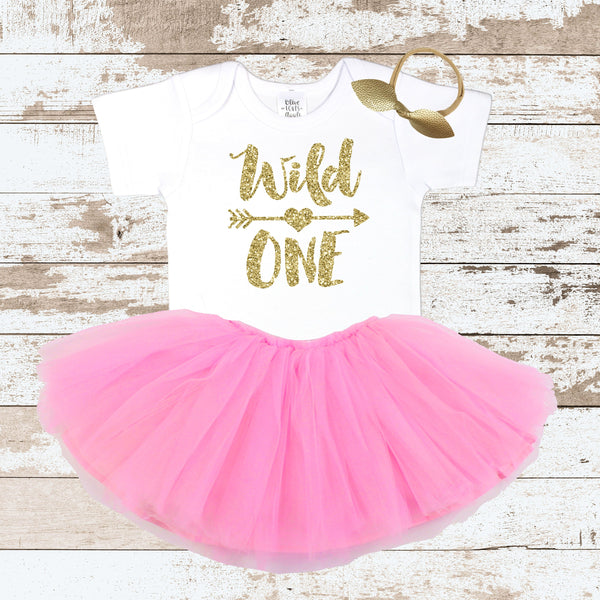 8e5172b04 Gold Wild One Pink Tutu Outfit – Olive Loves Apple