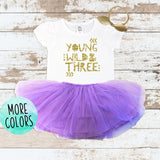 Gold Young Wild & Three Purple Tutu Outfit