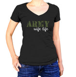 Army Wife Life T-Shirt - Ladies V Neck - UMBUH