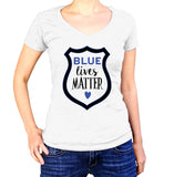 Blue Lives Matter T-Shirt - Ladies V Neck - UMBUH
