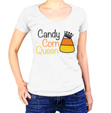 Candy Corn Queen Halloween T-Shirt - Ladies V Neck - UMBUH