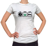 Eat Smoke Sleep Shirt - Ladies Crew Neck - UMBUH