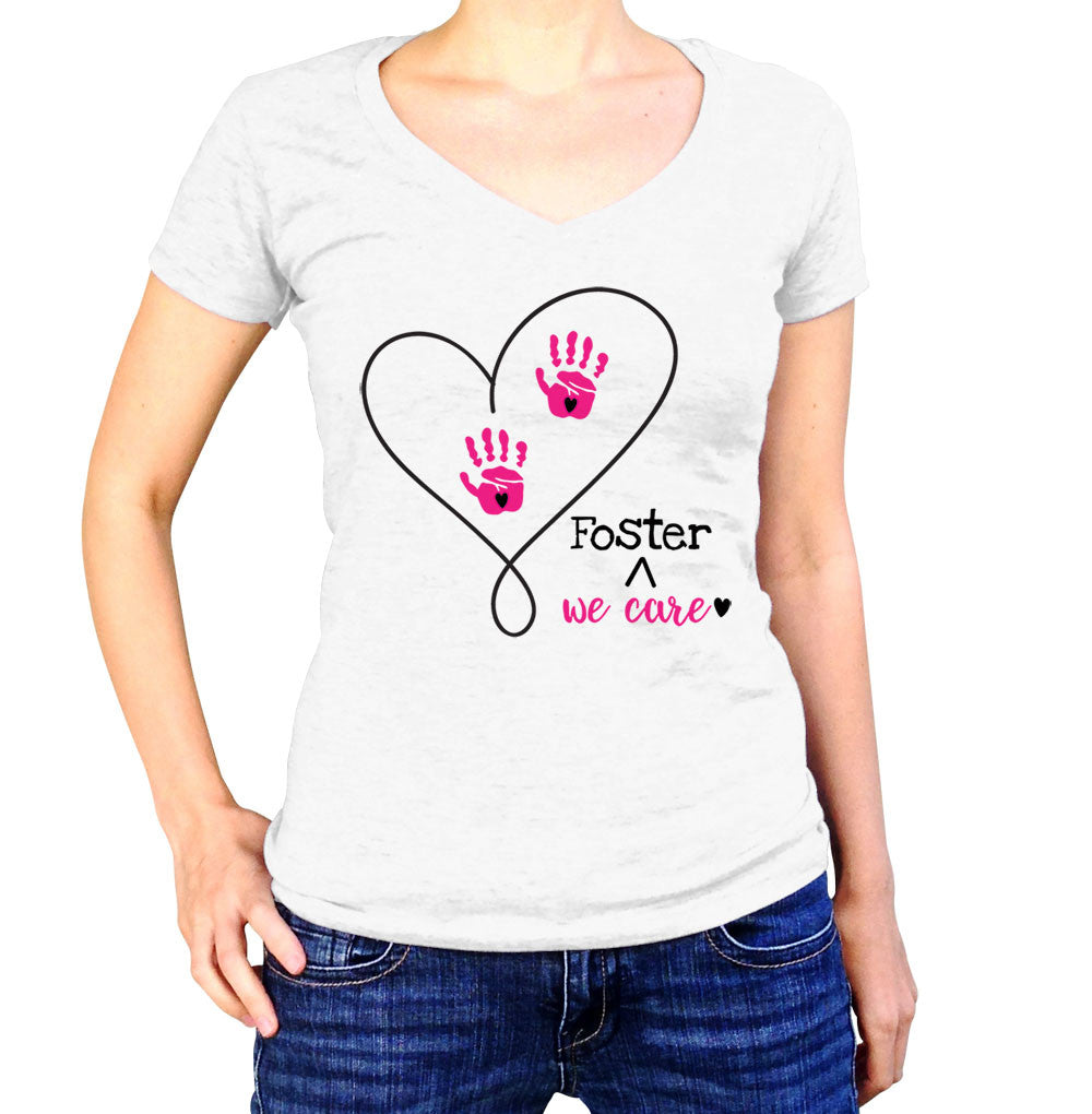 Foster We Care Adoption T-Shirt - Ladies V Neck - UMBUH