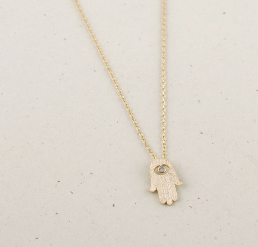 Dainty Gold Hamsa Hand Necklace - Necklace - UMBUH