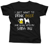 I Just Want To Drink Beer and Hang With My Shiba Inu T-Shirt - Unisex Tee - UMBUH