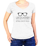 I Like My Women Like I Like My Glasses Shirt - Ladies V Neck - UMBUH