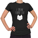 I Speak Fluent Cat Shirt - Ladies Crew Neck - UMBUH - 1