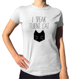 I Speak Fluent Cat Shirt - Ladies Crew Neck - UMBUH - 2
