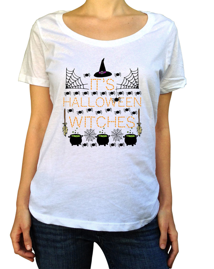 It's Halloween Witches T-Shirt - Ladies Scoop Neck - UMBUH