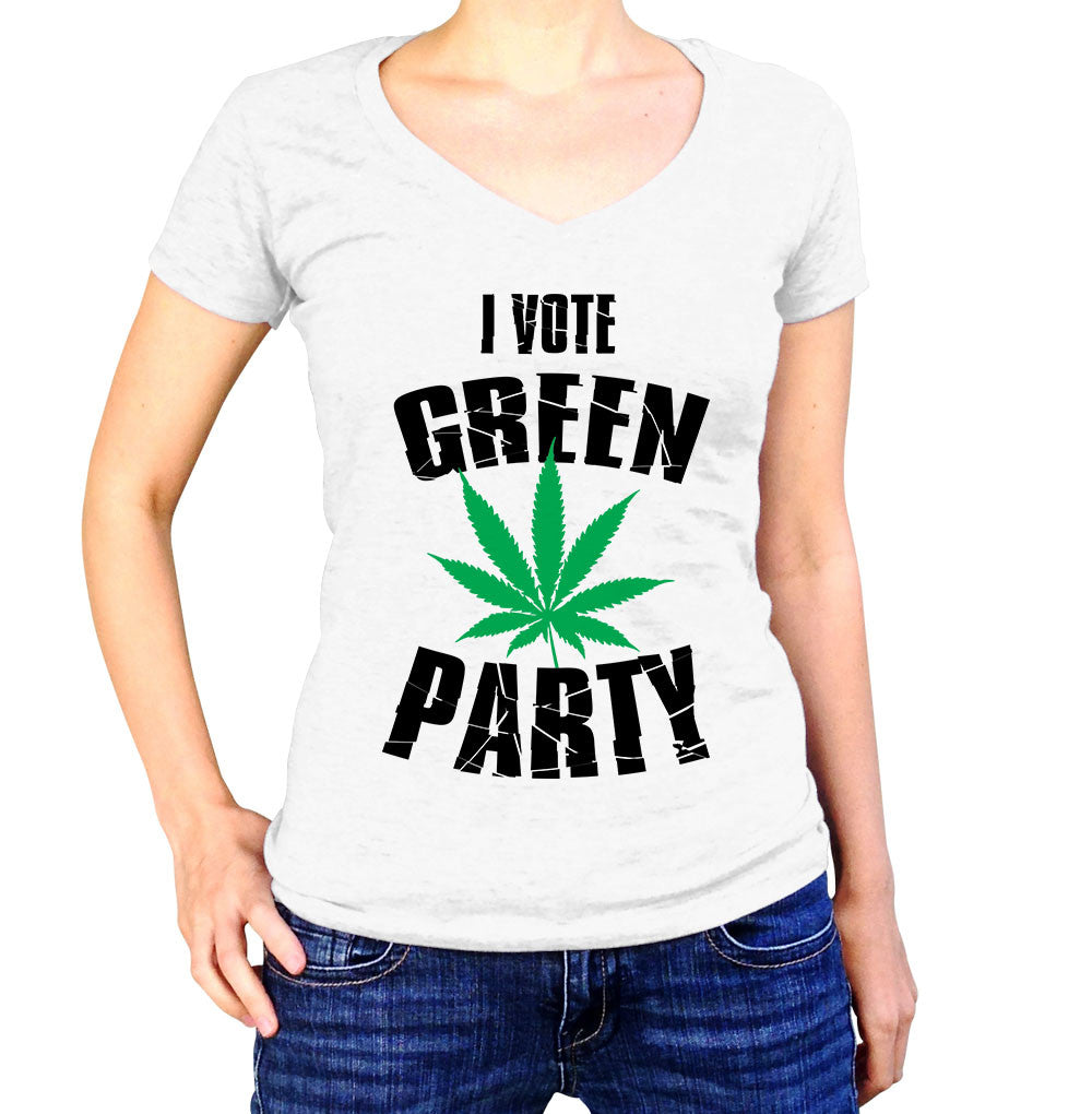 I Vote Green Party Shirt - Ladies V Neck - UMBUH