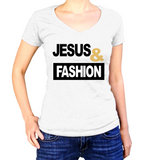 Jesus and Fashion Shirt - Ladies V Neck - UMBUH