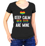 Keep Calm Her Tits Are Mine Shirt - Ladies V Neck - UMBUH