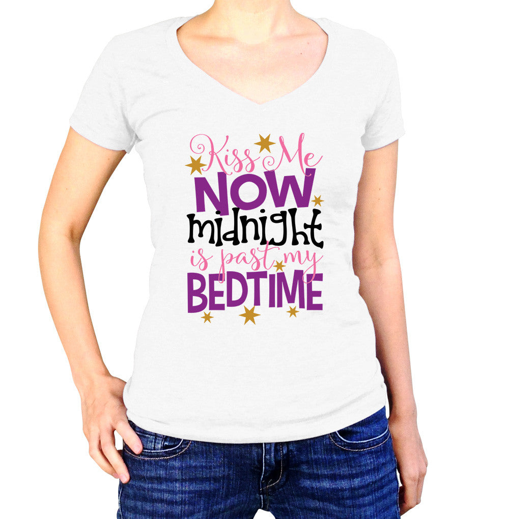 Kiss Me Now Midnight Is Past My Bedtime Shirt - Ladies V Neck - UMBUH