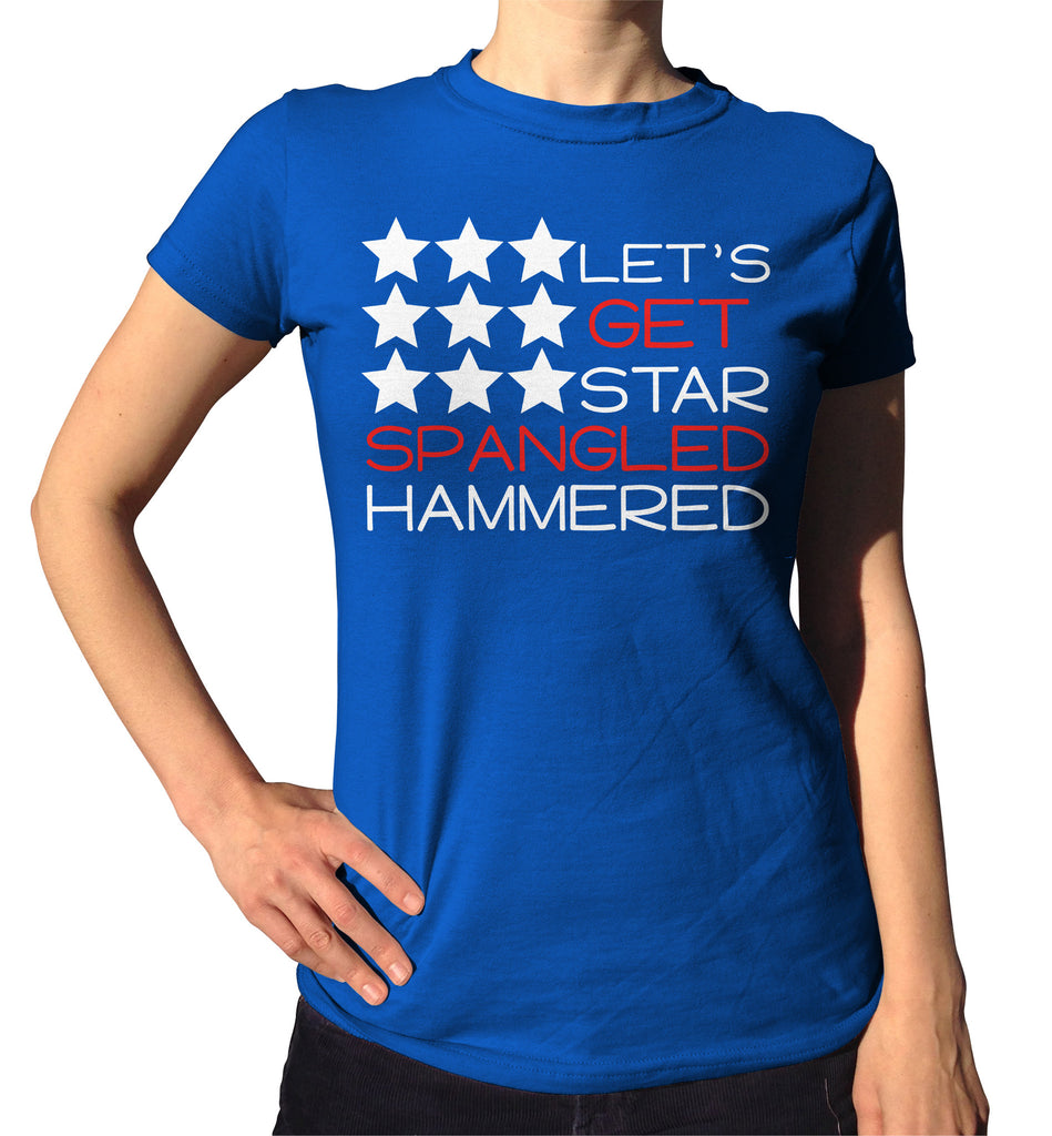 Let's Get Star Spangled Hammered Shirt - Ladies Crew Neck - UMBUH