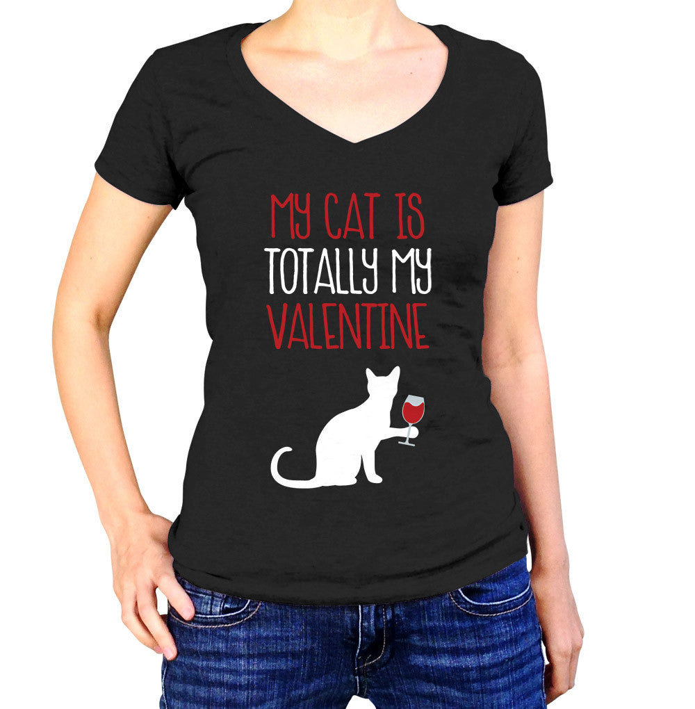 My Cat Is Totally My Valentine Shirt - Ladies V Neck - UMBUH