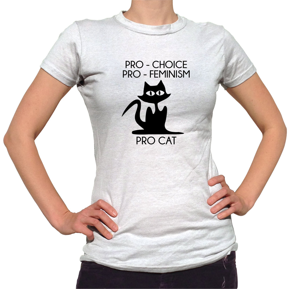 Pro Choice Pro Feminism Pro Cat Shirt - Ladies Crew Neck - UMBUH