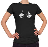 Skeleton Middle Fingers Halloween T-Shirt - Ladies Crew Neck - UMBUH