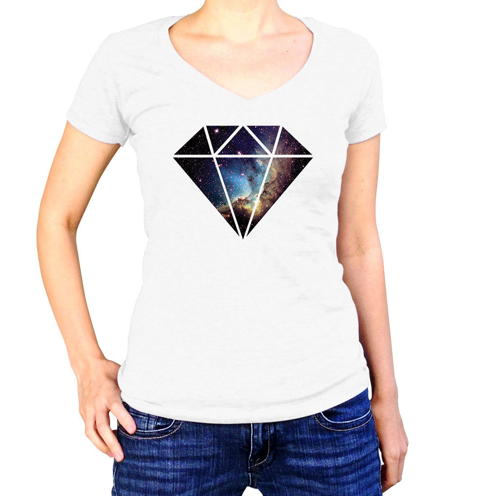 Blue Nebula Diamond Shirt - Ladies V Neck - UMBUH