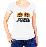 Stop Checking Out My Pumpkins Halloween T-Shirt - Ladies V Neck - UMBUH