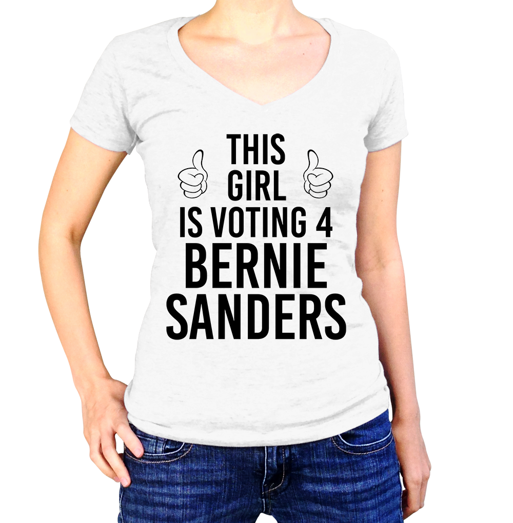 This Girl Is Voting For Bernie Sanders Shirt - Ladies V Neck - UMBUH