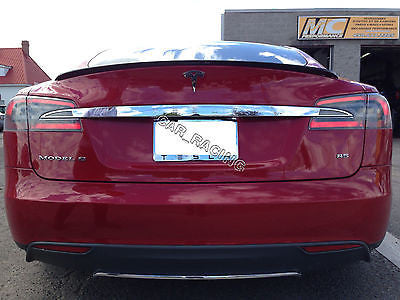 Trunk Boot Spoiler Lip Wing Fit For Tesla Model S Bumper 2012-2014 Unpainted  - MDI CarbonFiber