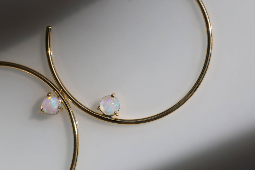 Holy Fire Hoops in Gold with Crystal Opal