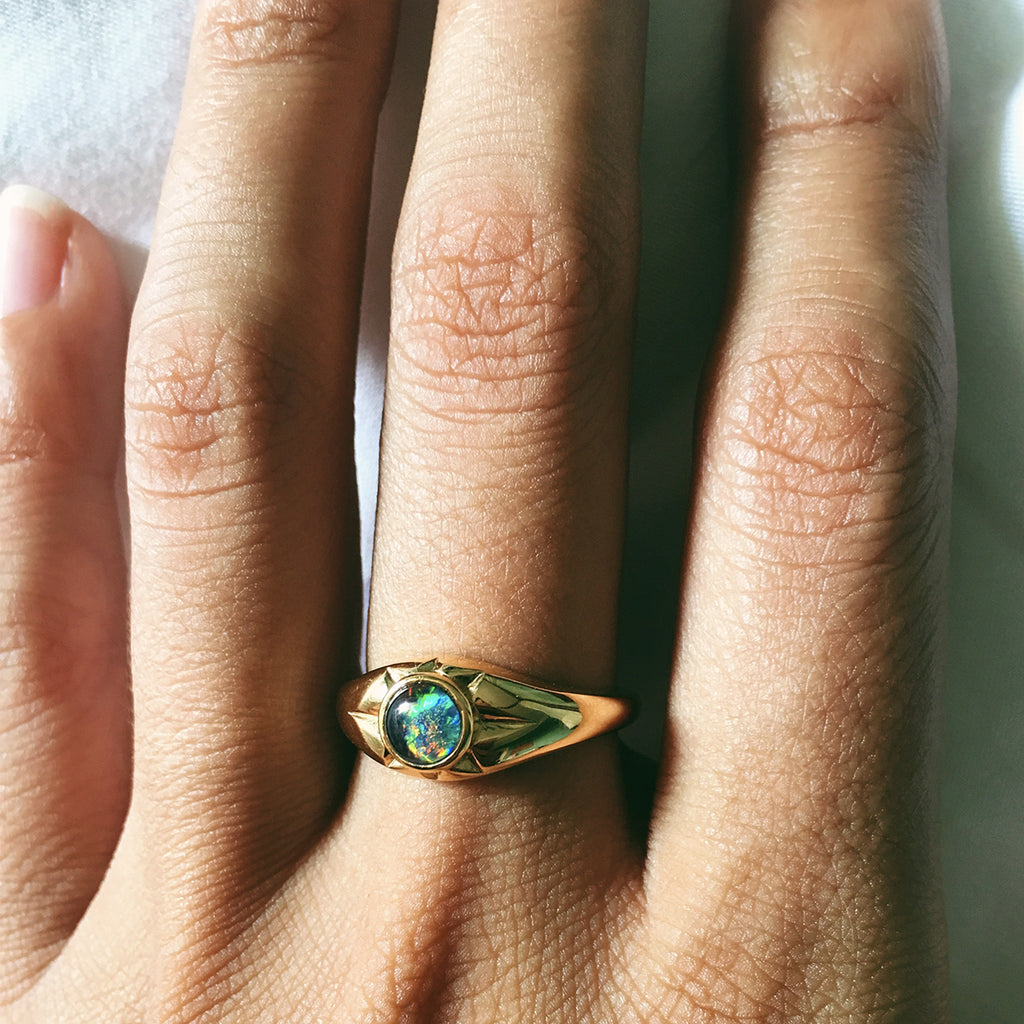 The Helios Ring in Gold & Opal