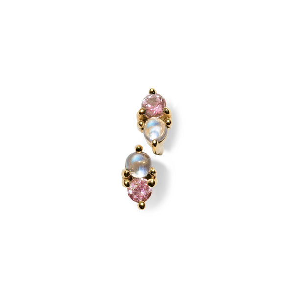 LIMITED EDITION | Charmer Studs | Pink Sapphire & Rainbow Moonstone