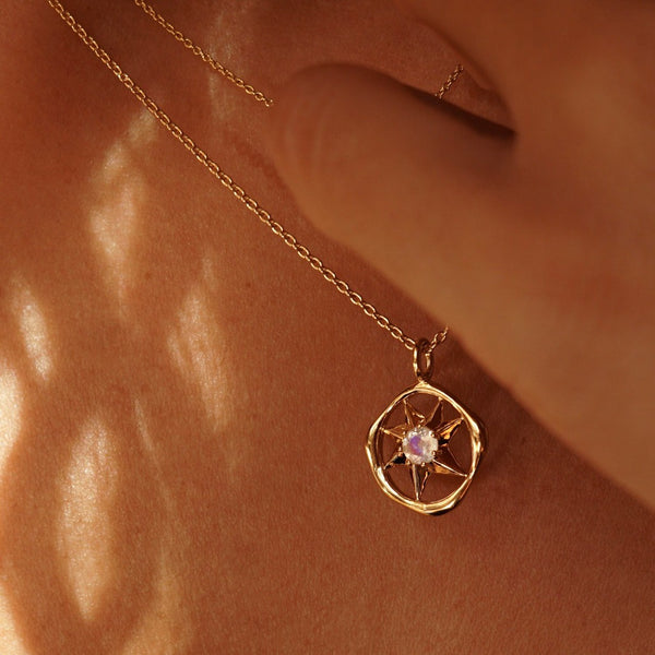 Solstizio Del Cosmo | Cosmos Solstice Shield Necklace | Silver & Rainbow Moonstone