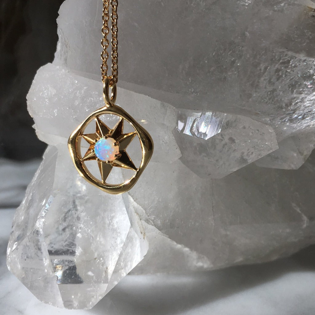 Solstizio Del Cosmo | Cosmos Solstice Shield Necklace | Gold & Opal