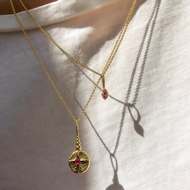 North Star Necklace | Gold & Ruby