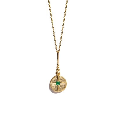North Star Necklace | Gold & Emerald
