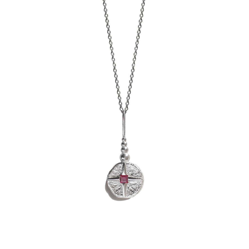 North Star Necklace | Silver & Ruby