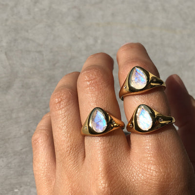 True North Ring | Rainbow Moonstone & Gold Vermeil