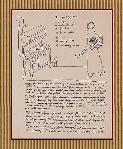 The Woodstove - page from Living on the Earth - matted art print