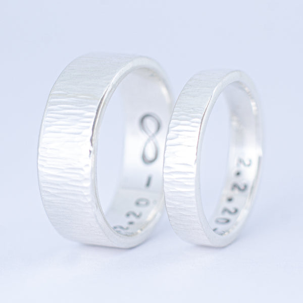 Pair of Sterling Silver Rain Band Rings
