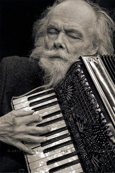 GARTH HUDSON & ACCORDION (2017) - John Scheele - Collector's Print