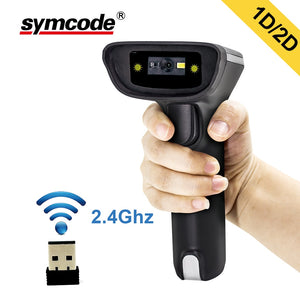 2D Wireless Barcode Scanner,Symcode 1D/2D 2.4GHz USB Wireless Bar Code Reader with 100Meters(330ft) Wireless Trnasfer Distance