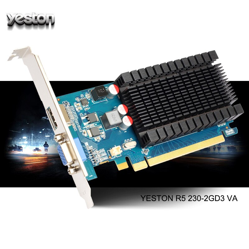 Yeston Radeon R5 230 GPU 2GB GDDR3 64 bit Gaming Desktop computer PC Video Graphics Cards support VGA/HDMI PCI-E X16 2.0
