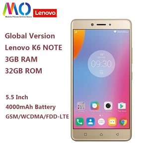 Original Global Version Lenovo K6 Note K53a48 3GB 32GB Smartphone Snapdragon 430 Octa Core 4000mAh 5.5inch 1920x1080 16MP Camera