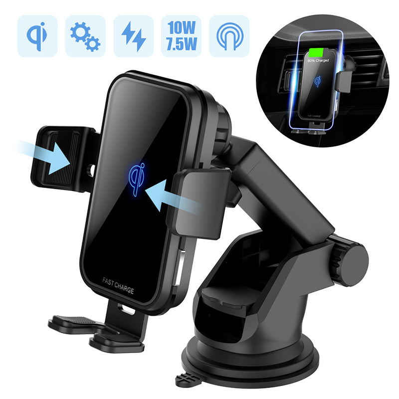 10W QI Wireless Car Charger For Iphone X Samsung S10 Fast Charge Air Vent Dashboard Car Mount Auto Clamping Car Wireless Charger