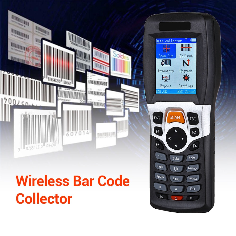 Wireless Barcode Scanner Collector Portable Data Terminal Inventory Device USB Barcode Scanner 1D PDT with TFT Color LCD Screen